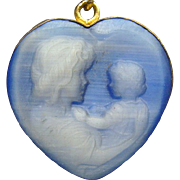 Gold Filled Hard Stone Heart Necklace Of Mother and Child