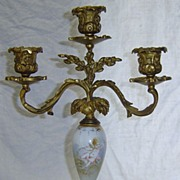 Antique Gold Gilt Bronze & Porcelain Candelabra w/ Cupid Cherub