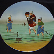 V&B Mettlach Charger Wall Plate Plaque Dutch Children Sea Seaside