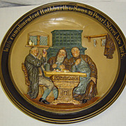 Antique German Figural Pottery Beer Advertising Plaque Rothbarth NY