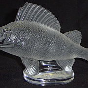 Lalique Perche Perch Fish Glass Hood Ornament Paperweight Signed