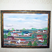 HUGE Charles J. White New Hope PA Primitive style Folk Art Landscape Painting 46 x 52&quot;