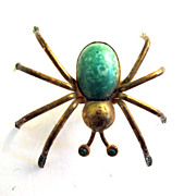 SALE Vintage Green Czech Glass Rhinestone Spider Pin Brooch