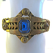 Antique late Victorian Sapphire Paste Brass Cuff  Bracelet