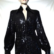 SALE Vintage 60's Valentina Schlee Couture Black Sequin Beaded Tunic Top