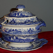 Staffordshire 3 piece sauce tureen