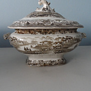 Brown and White Transferware Tureen