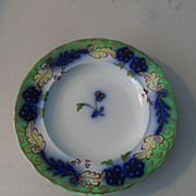 SOLD Ground Green and Flow Blue 7&quot; Plates  (3)