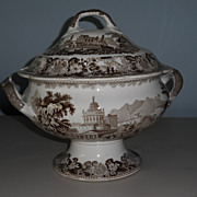Transferware  Round Tureen, Brown and White/British