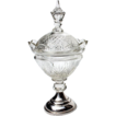 19th Century Cut Crystal Covered Pedestal Bowl With Dutch Sterling Base
