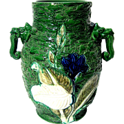 SALE Large Japanese Dragon Handled Awaji Vase, Circa 1920