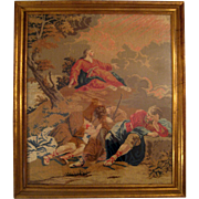 SALE Large 19th Century Gilt Wood Framed Needlepoint