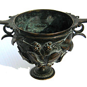 SALE 19th Century Signed Bronze Kylix By Giorgio Sommer, Circa 1875