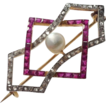 Diamond, Ruby and Pearl Edwardian Brooch