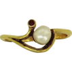 Vintage Pearl and Garnet Gold Ring