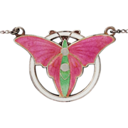 Art Deco Butterfly Enamel Sterling Silver Necklace