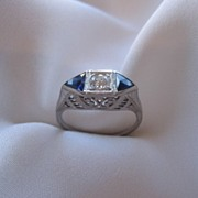Vintage Diamond and Sapphire Platinum Ring