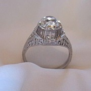 SALE Circa 1900 Mine Cut Diamond and Platinum Ring