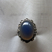 Circa 1930 Chalcedony, Marcasite and Sterling Deco Ring
