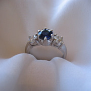 Estate Sapphire and Diamond engagement ring
