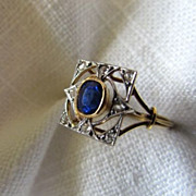 SALE Circa 1900 Sapphire and Diamond Ring
