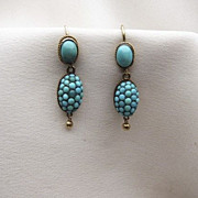 SALE Circa 1880's Cabochon Turquoise Earrings