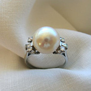 SALE Circa 1970's Pearl, Diamond and Platinum Ring