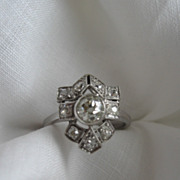 SALE Circa 1910- 1915 Edwardian Diamond and Platinum Ring