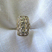 Circa 1930 Art Deco Filigree Diamond Ring