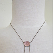 SALE Rose Quartz Arts and Crafts Necklace