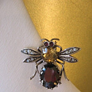 SALE Sale Circa 1900 Silver, Garnet, Citrine and Seed Pearl Insect Pin