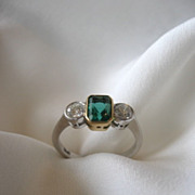 SALE Estate Natural Columbian Emerald and Diamond ring