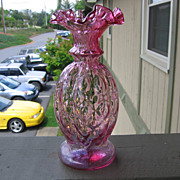 Fenton, Cranberry Melon Rib Diamond Optic Vase