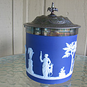 SALE Wedgwood, Biscuit Jar With Silver Plated Hinged Lid, Cobalt Blue
