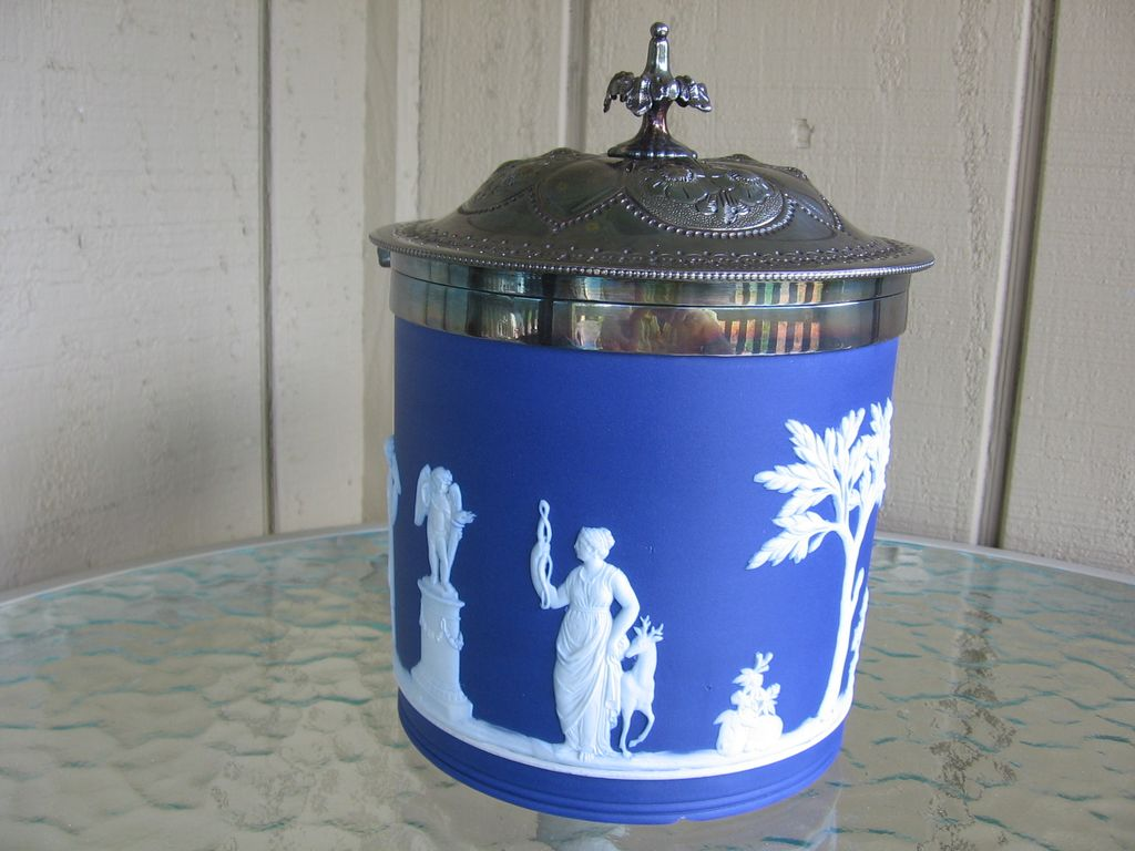 Wedgwood, Biscuit Jar With Silver Plated Hinged Lid, Cobalt Blue