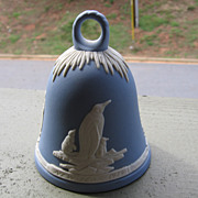 SALE Wedgwood, Blue Jasperware New Year's Bell 1979