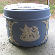 SALE Wedgwood, Blue Jasperware Trinket/ Pill Box with Lid