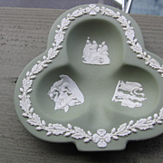 SALE Wedgwood, Green Jasperware Clover Dresser Pin/Trinket Tray