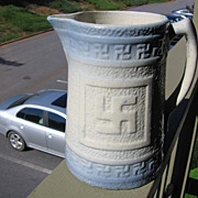 SALE Salt Glaze Pottery, 1880's Milk Pitcher with Rare Unusual Ancient  Symbol