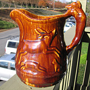 SOLD Late 1800's Hound Handle Pitcher By Bennington