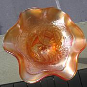 SOLD Fenton, Marigold, Peacock at Urn, Carnival Glass Compote