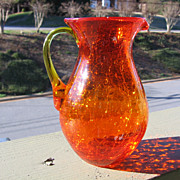 SALE Mosser, Amberina, Crackle Glass Pitcher