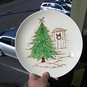SALE Blue Ridge Pottery, Christmas Tree Plate with Door & Wreath