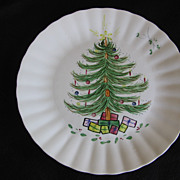 SALE Blue Ridge Pottery, Christmas Tree Plate with Presents