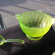 SALE Vaseline, Unmarked, Long Maple Leaf Mayo/Condiment Bowl & Ladle