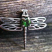 SOLD Sterling Silver Dragonfly Pendant With Faceted  Created Emerald