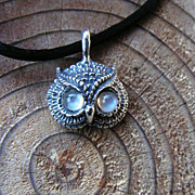 SOLD Sterling Silver Owl Pendant With Moonstone Eyes