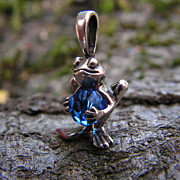 SOLD Sterling Silver Frog Pendant with Sapphire Swarovski Crystal