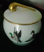 1892-1917-T V Limoges Porcelain Humidor/Tobacco Jar with Handpainted Ducks and Gold Pipe Lid