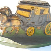 Cast Iron Colorful Stage Coach Doorstop With Two Horses
